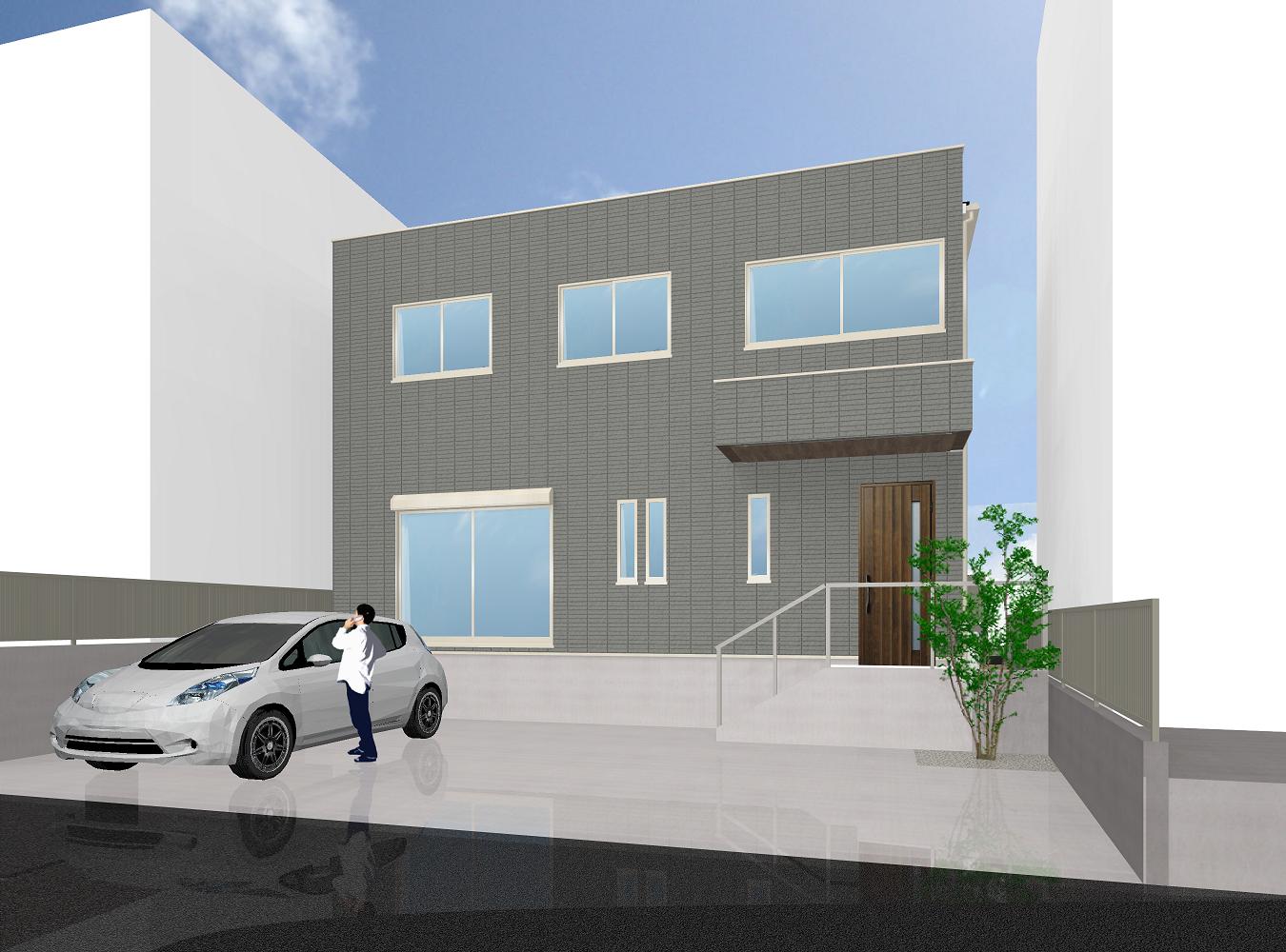 インナーバルコニーで快適家事空間の木造2階建て住宅