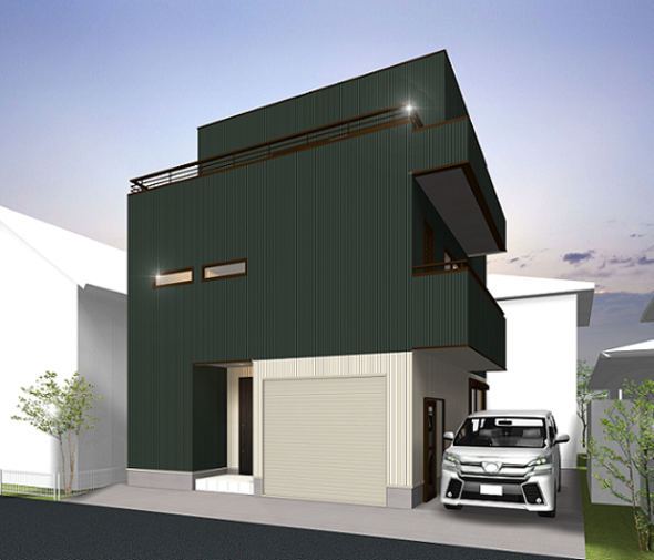 「 空 」と繋がるルーフバルコニーのある重量鉄骨3階建て住宅 完成見学会