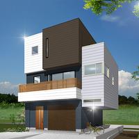 CUBEデザインのガレージタイプ重量鉄骨住宅 構造見学会