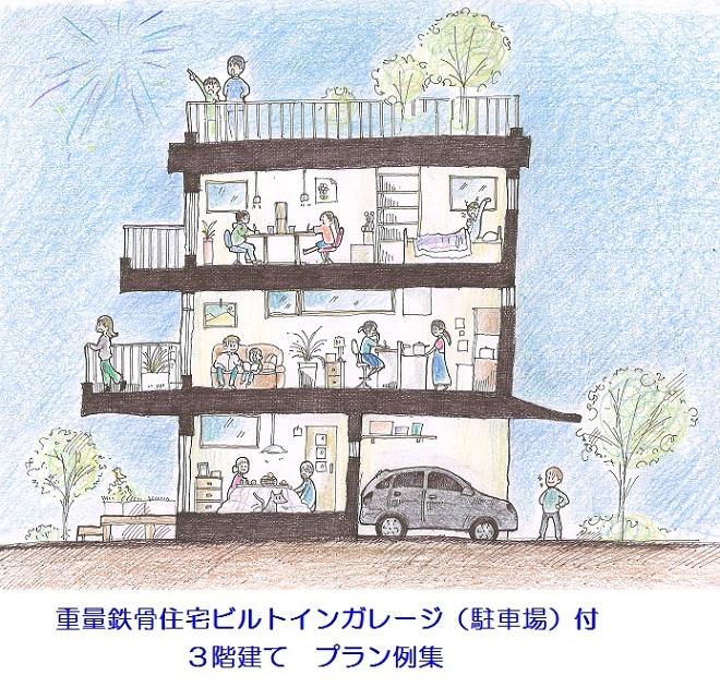 重量鉄骨住宅ビルトインガレージ(駐車場)付3階建て    プラン例集